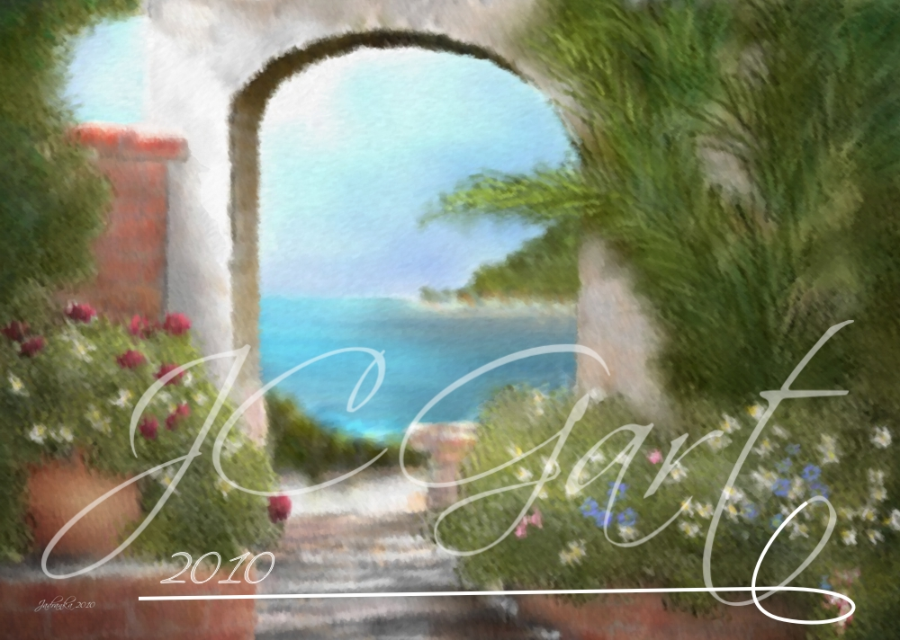 Contemporary fine art digital paintings: Mediterranean view, digital painting Mediterranean view realized in fine art digital painting
