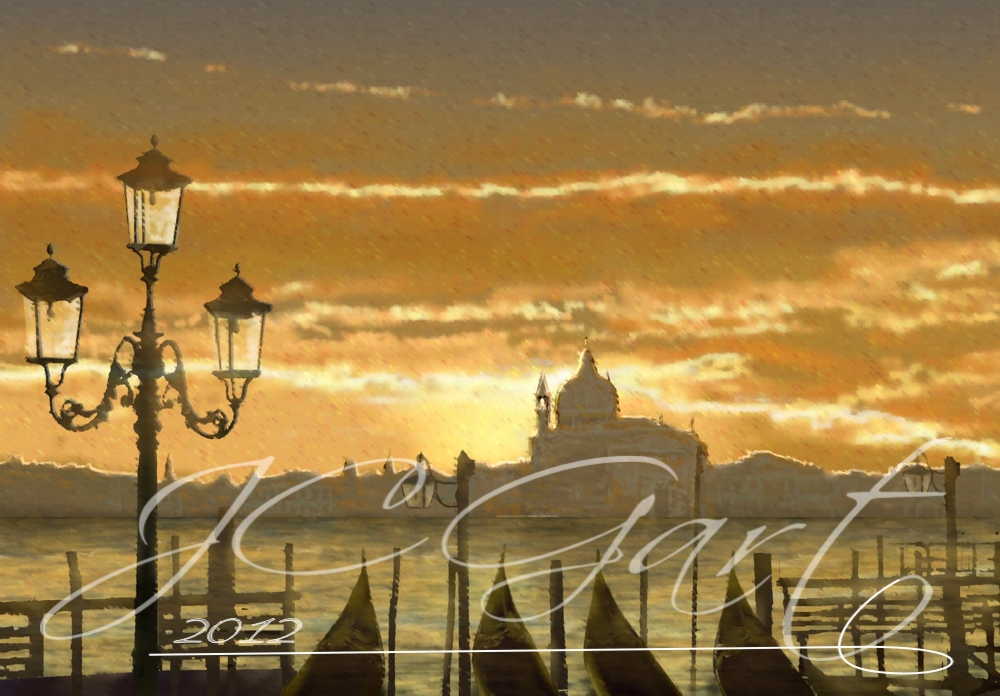 Contemporary fine art digital paintings: Twilight in Venice, digital painting with Incontro onirico, digital painting Incontro onirico realized in fine art digital painting - Twilight in Venice - fine art digital painting - canvas print - wedding gift