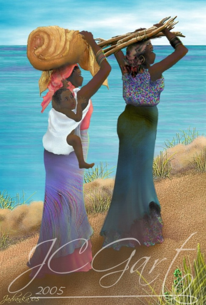 Contemporary fine art digital paintings: african life scene, digital painting with african life scene, digital painting african life scene realized in fine art digital painting - african woman - African Continent - Lake Victoria - Uganda - figures - contemporary realism