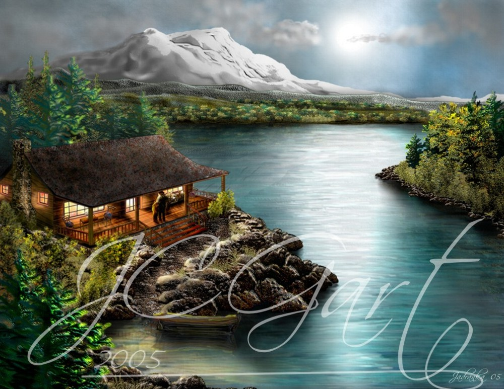 Contemporary fine art digital paintings: north america landscape, digital painting with north america landscape, digital painting north america landscape realized in fine art digital painting - moonlight - light -window - reflexions - lake - mountain - cottage - landscape - scenic- peaceful retreat