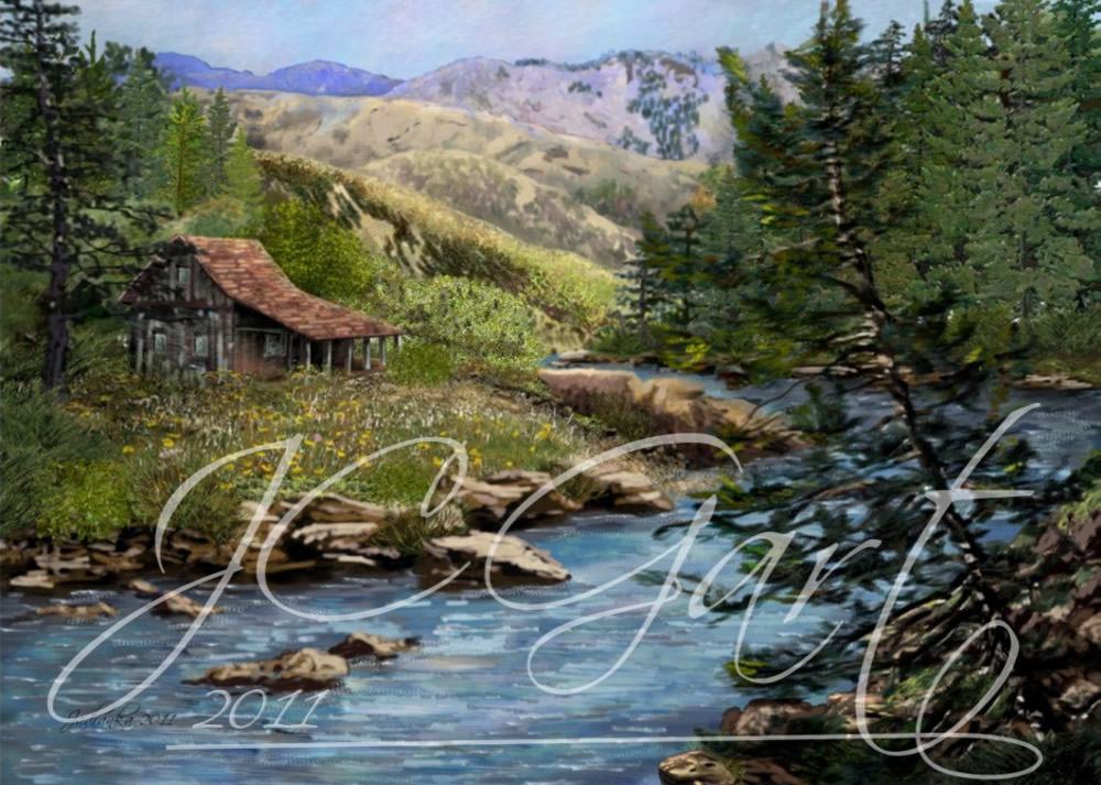 Contemporary fine art digital paintings: northamericaxxxxx, digital painting with northamericaxxxxx, digital painting northamericaxxxxx realized in fine art digital painting - landscape - scenic - mountain - creek - cottage - fishing - retreat - peaceful - pine tree North America - Idaho - Rocky Mountain