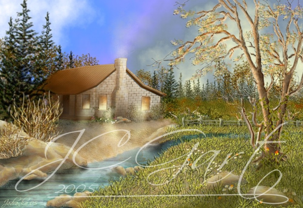 Contemporary fine art digital paintings: Little house in the prairie, digital painting north america, digital painting north america realized in fine art digital painting - prairie - creek - landscape - retreat
