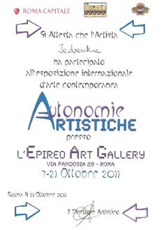 Epireo Certificate of partecipation at the Inaugural Vernissage of the contemporary art exhibition Cosmesi dell´arte